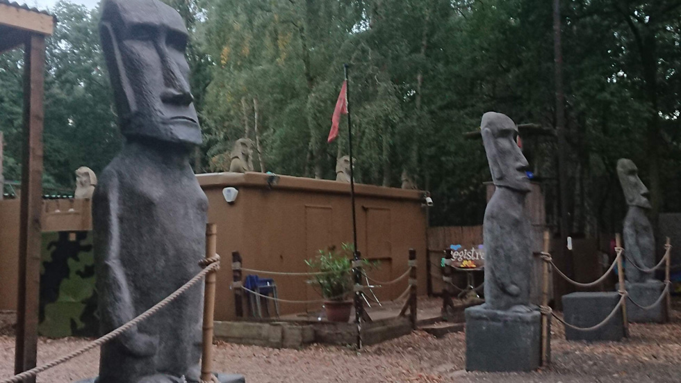 stone statues outside npf bassetts pole entrance