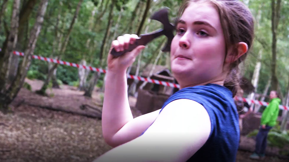 hen party member with throwing axe drawn