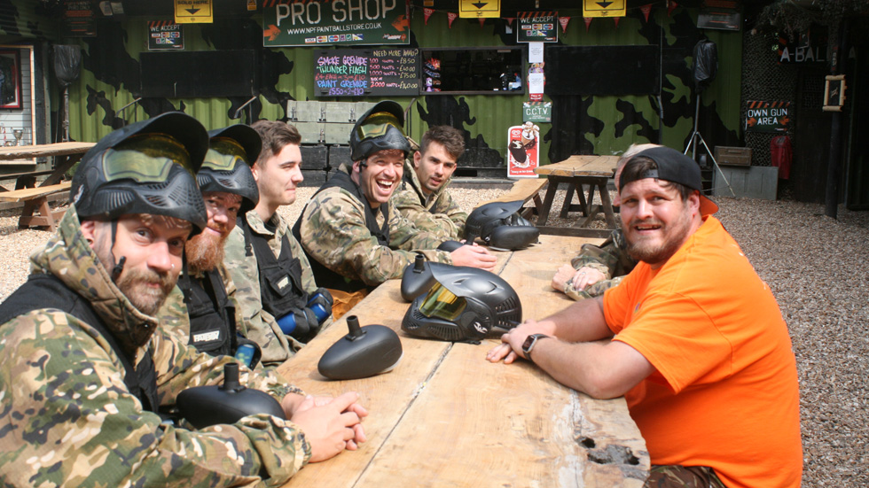 stag party in paintball equipment