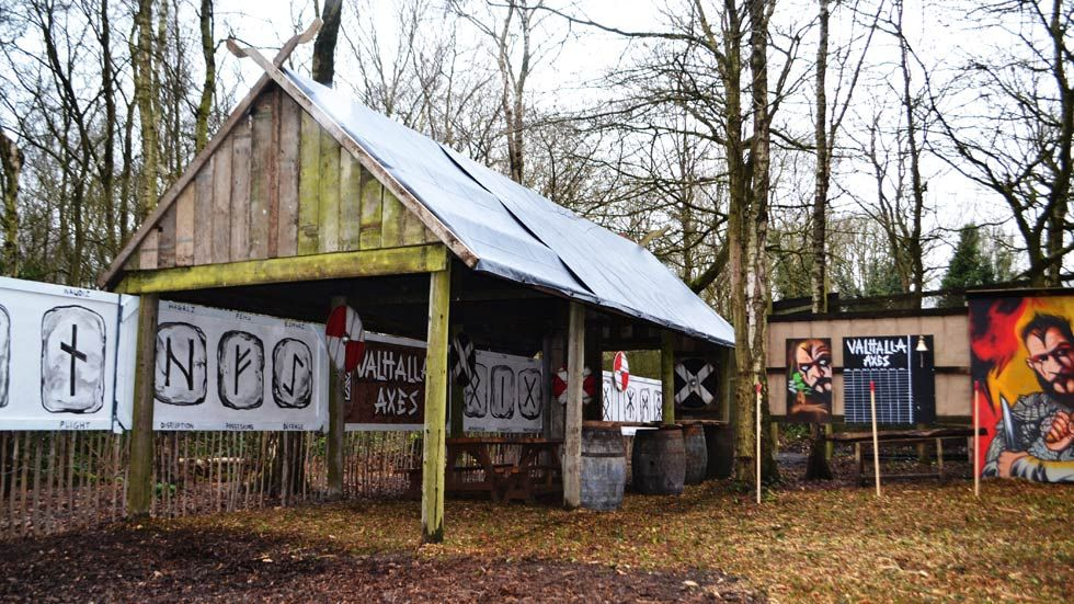 viking long hall at axe throwing range
