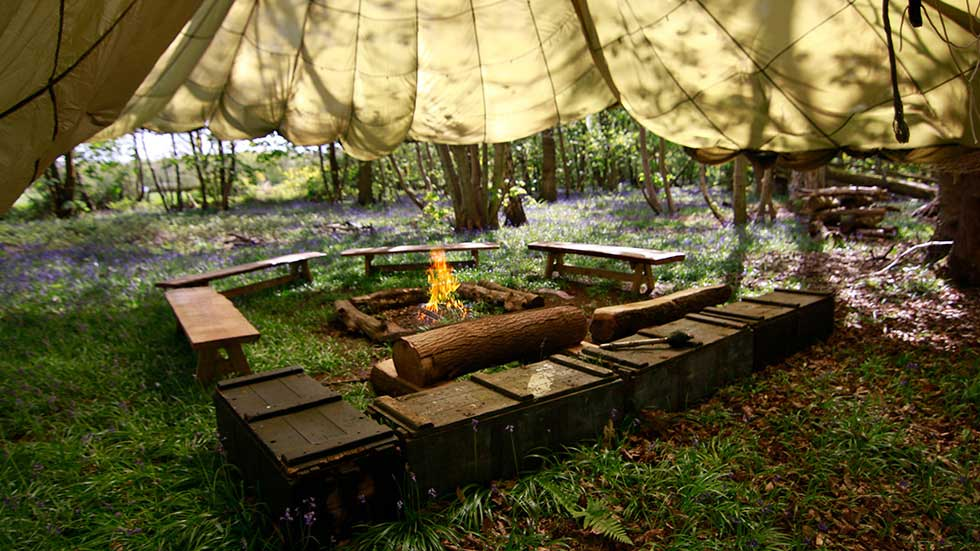 bushcraft training area and fire