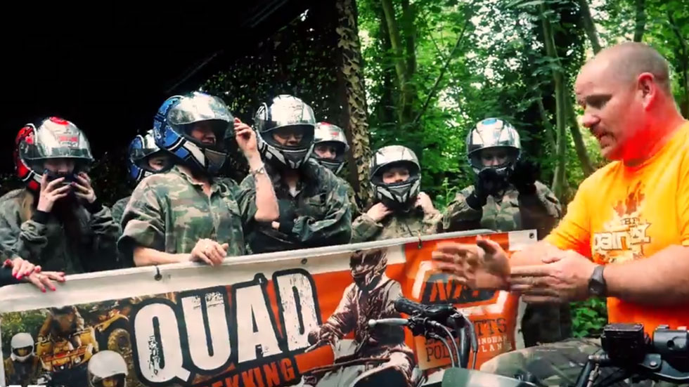 hen group being instructed in safe operation of a quad bike