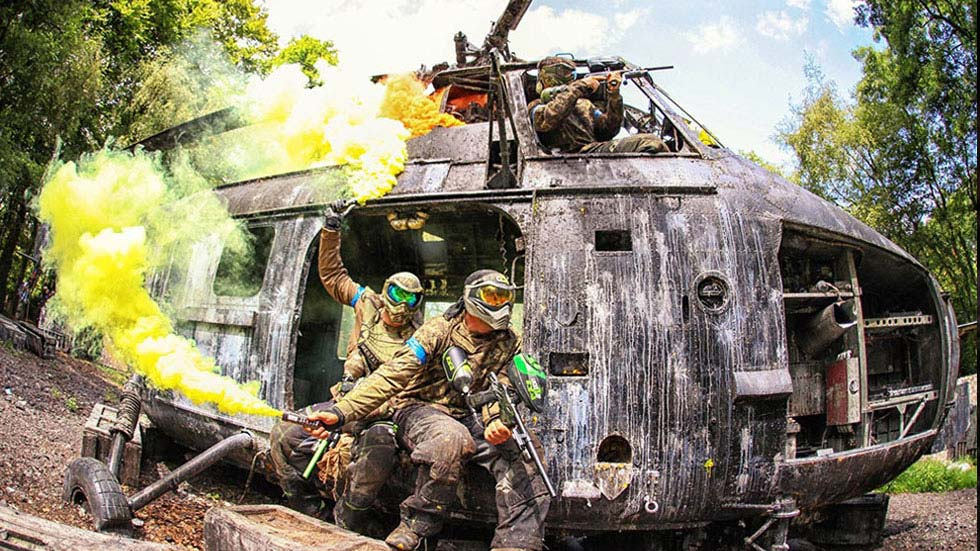 own gunners shooting paintballs from helicopter