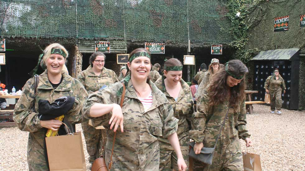 hen group in paintball gear