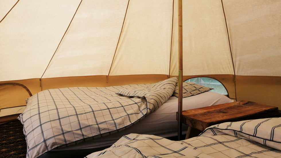 glamping tent interior