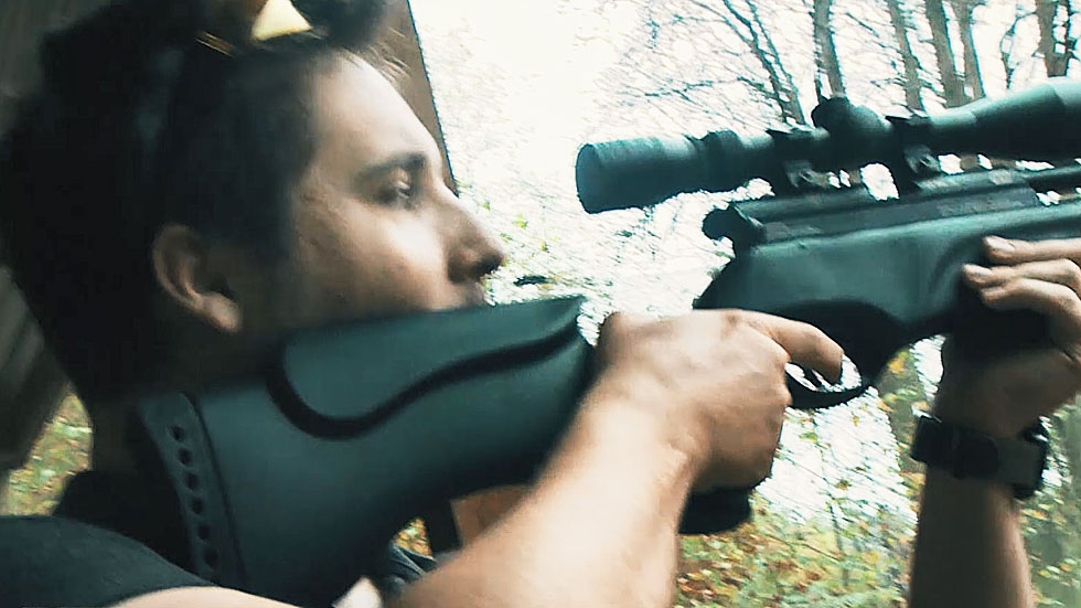stag player shoots bsa air rifle at targets