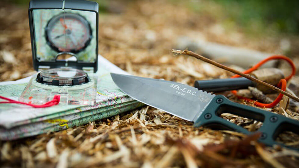 firelighter, compass, and survival knife