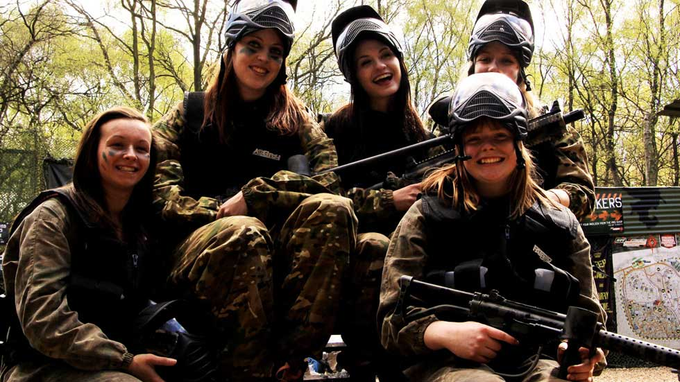 smiling group of hen party in low impact paintball gear