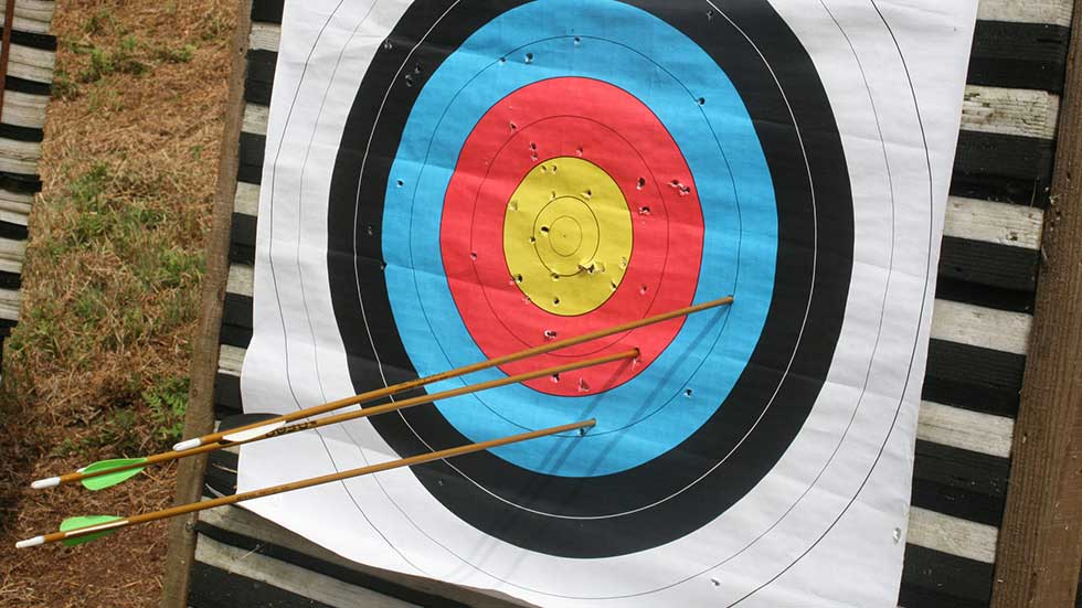 arrows embedded in second ring of archery target