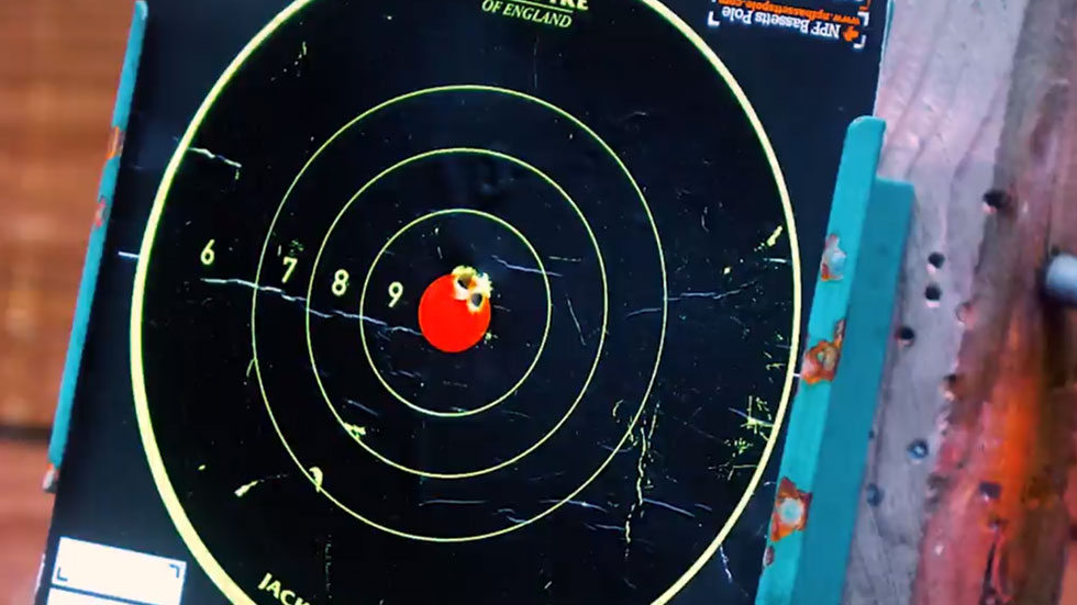 airgun pellets embedded in paper target bullseye