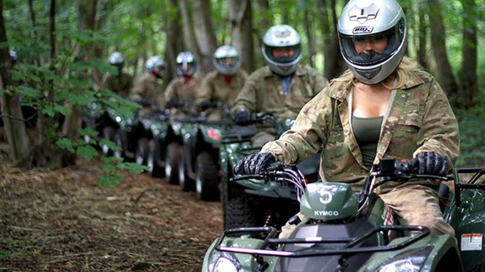 hen party group riding quad bikes