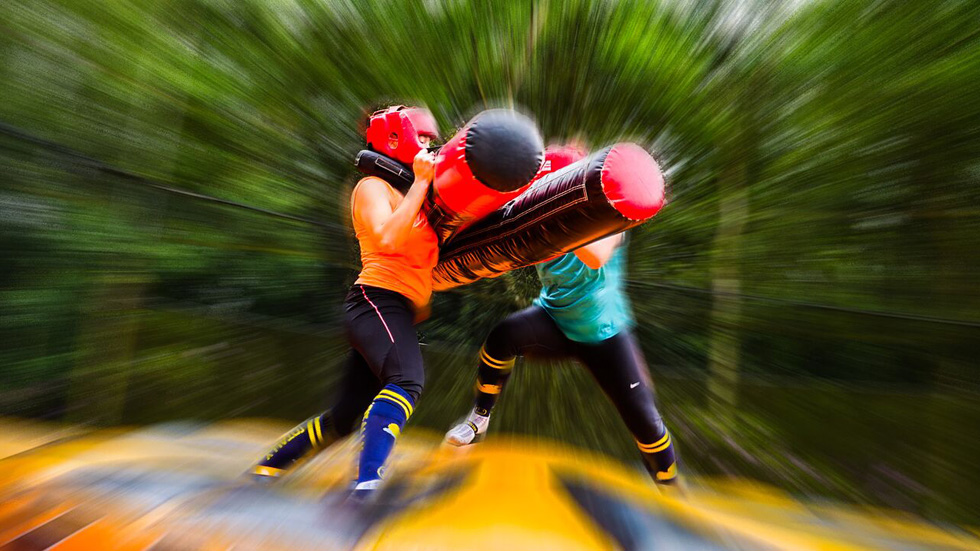 two players taking part in inflatable combat